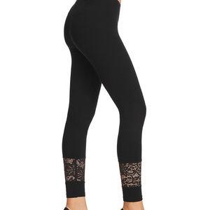 HUE Lace Panel  Cotton Skimmer Leggings BLACK M